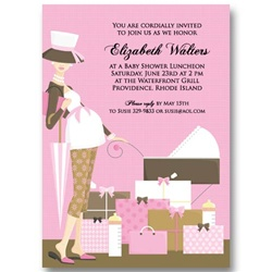 Pink Baby Carriage Baby Shower Invitations