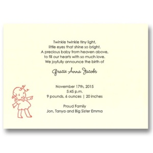 Ta-Da! Baby Girl Birth Announcements