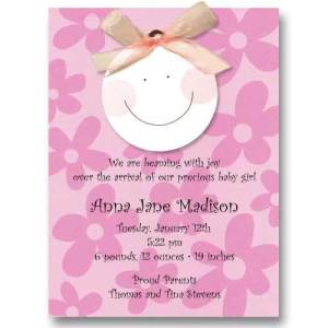 Smiley Baby Girl Ribbon Birth Announcements