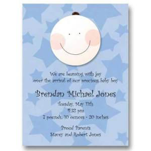 Smiley Baby Boy Stars Birth Announcements