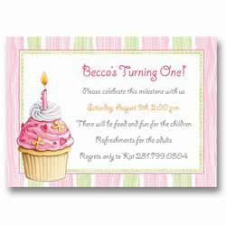 Pink Cupcake Baby First Birthday Invitations