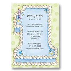 Number 1 Blue Cake First Birthday Invitations