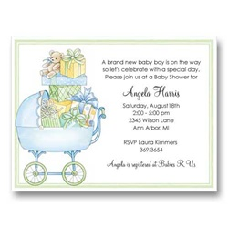 Blue Buggy Baby Shower Invitations