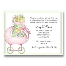 Pink Buggy Baby Shower Invitations