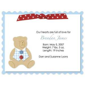 Baby Boy Bear Ribbon Birth Announcements