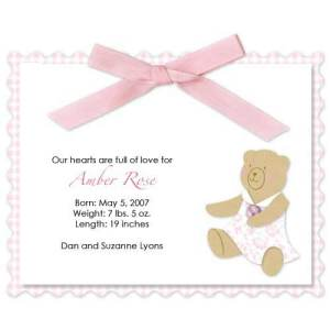 Baby Girl Bear Ribbon Birth Announcements