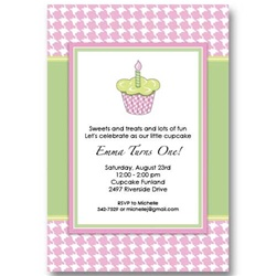 Green Pink Cupcake Birthday Invitations