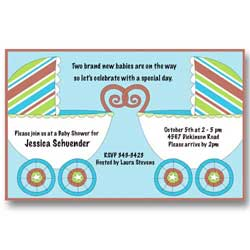 Twin Baby Carriage Twin Boy Baby Shower Invitations
