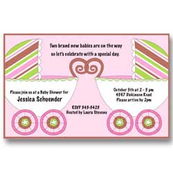 Twin Baby Carriage Twin Girl Baby Shower Invitations