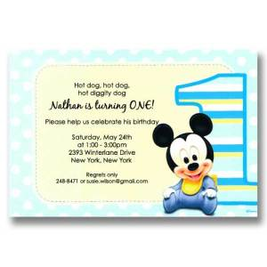 Disney Mickey 1st Birthday Invitations