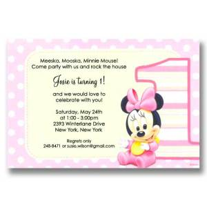 Disney Minnie 1st Birthday Invitations