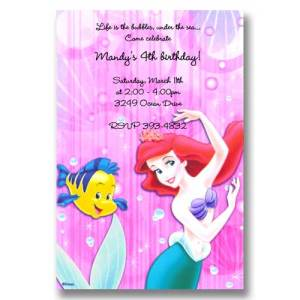 Flounder Little Mermaid Birthday Invitations