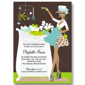 Blue African-American Baby Shower Invitations