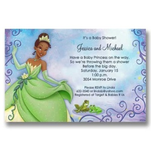Princess Tiana and Frog Baby Shower Invitations