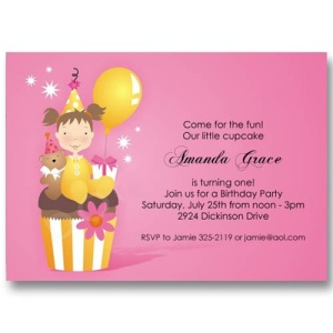 Pink Cupcake Balloon Birthday Invitations