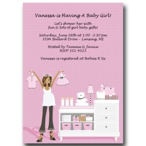 African-American Pink Baby Shower Invitations