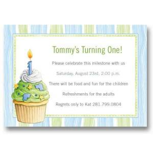 Blue Cupcake Baby First Birthday Invitations