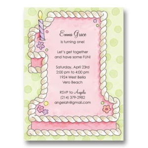 Number 1 Pink Cake First Birthday Invitations