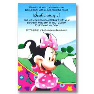 Disney Minnie Clubhouse Birthday Invitations