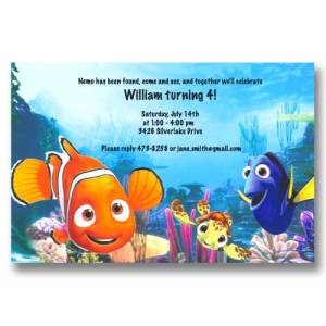 Disney Nemo Dory Squirt Birthday Invitations