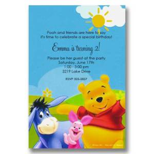 Pooh Piglet Eeyore Sunshine Birthday Invitations