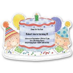 Blue Cake Baby First Birthday Invitations