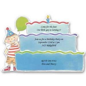 Blue Tower Cake Baby Birthday Invitations