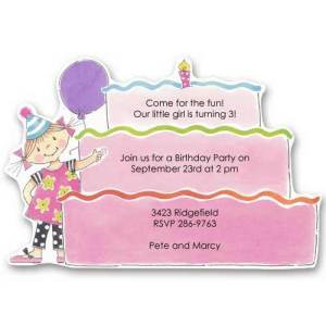 Pink Tower Cake Baby Birthday Invitations