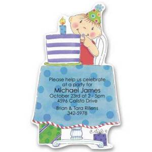 Blue Cake Baby Birthday Invitations