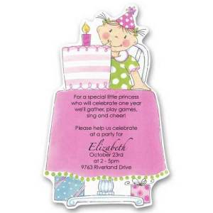 Pink Cake Baby Birthday Invitations