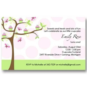 Pink Butterfly Cupcake Birthday Invitations