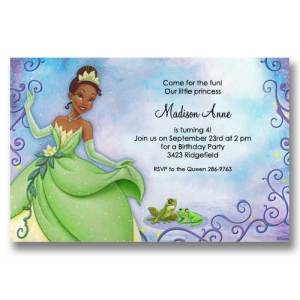 Princess Tiana and Frog Birthday Invitations