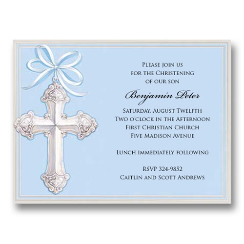 Foil Cross Blue Baptism Communion Invitations