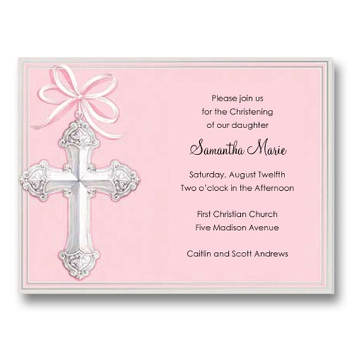 Foil Cross Pink Baptism Communion Invitations