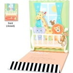 Popup Crib Safari Animals Birthday Invitations