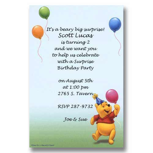 Disney Pooh Party Hat Balloons Baby Birthday Invitations