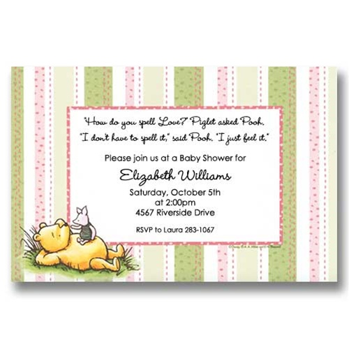 Disney Pooh Piglet Pink Baby Shower Invitations