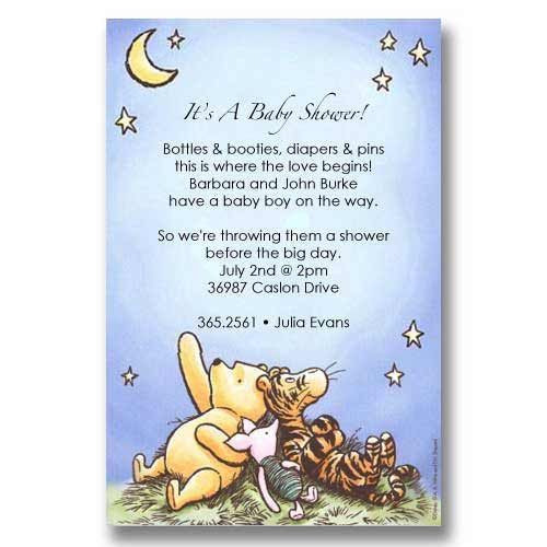 Disney Pooh Piglet Tigger Stars Baby Shower Invitations