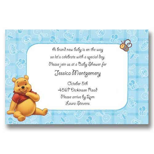 Disney Winnie the Pooh Blue Baby Shower Invitations