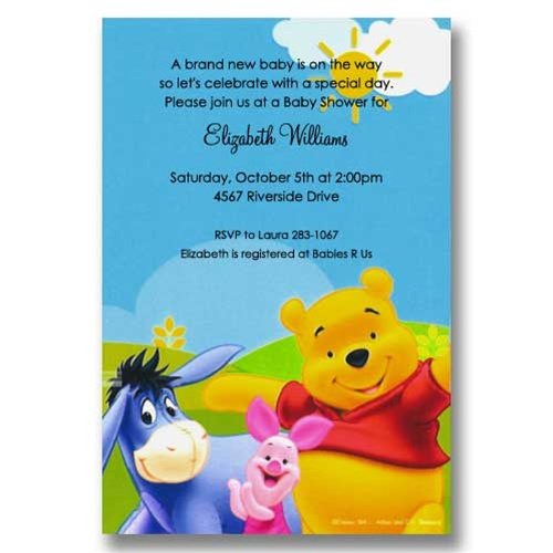 Pooh Piglet Sunshine Baby Shower Invitations