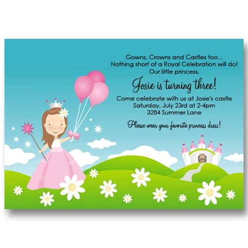 Princess Castle Balloon Birthday Invitations