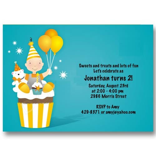 Blue Cupcake Balloon Birthday Invitations