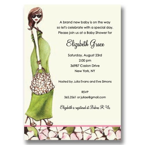 Fashionable Mom Green Baby Shower Invitations
