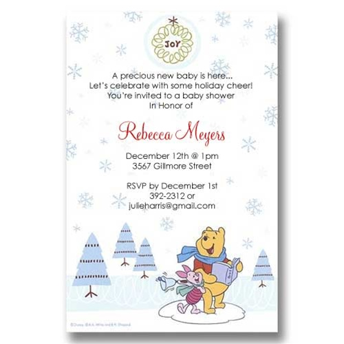 Pooh Piglet Joy Christmas Baby Shower Invitations