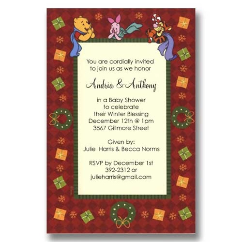 Pooh Wreath Christmas Baby Shower Invitations