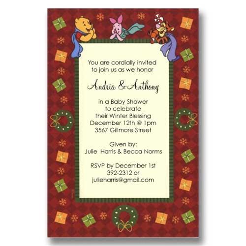 Pooh Wreath Christmas Baby Shower Invitations