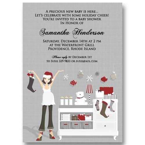 Christmas Baby Dresser Baby Shower Invitations