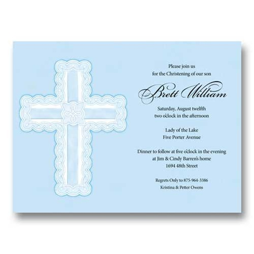 Die-cut Blue Ribbon Cross Baptism Communion Invitations