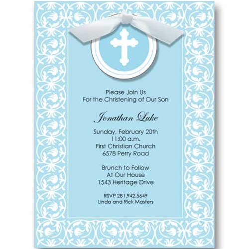 Blue Cross Ribbon Baptism Communion Invitations