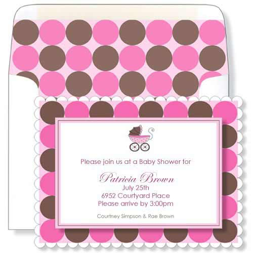 Pink Baby Stroller Baby Shower Invitations